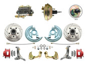 """DBK6267LXR-GM-233  - 1962-1967 Nova Power Disc Brake Conversion Kit Drilled & Slotted Rotors Powder Coated Red Calipers w/ 9"""" 3 Stud Booster"""