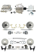 "DBK55581012FS-GMFS1-330  - 1955-1958 GM Full Size Front & Rear Power Disc Brake Kit (Impala, Bel Air, Biscayne) & 8"" Dual Chrome Booster Conversion Kit w/ Chrome Master Cylinder Bottom Mount Disc/ Disc Proportioning Valve Kit"