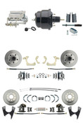 "DBK55581012FS-GMFS1-724  - 1955-1958 GM Full Size Front & Rear Power Disc Brake Kit (Impala, Bel Air, Biscayne) & 8"" Dual Powder Coated Black Booster Conversion Kit w/ Chrome Flat Top Master Cylinder Bottom Mount Disc/ Disc Proportioning Valve Kit"