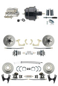 "DBK55581012FS-GMFS1-726  - 1955-1958 GM Full Size Front & Rear Power Disc Brake Kit (Impala, Bel Air, Biscayne) & 8"" Dual Powder Coated Black Booster Conversion Kit w/ Chrome Master Cylinder Bottom Mount Disc/ Disc Proportioning Valve Kit"
