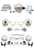 "DBK55581012FSLX-GMFS1-328  - 1955-1958 GM Full Size Disc Brake Kit Drilled/Slotted Rotors (Impala, Bel Air, Biscayne) & 8"" Dual Chrome Booster Conversion Kit w/ Flat Top Chrome Master Cylinder Bottom Mount Disc/ Disc Proportioning Valve Kit"