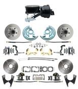 "DBK64721012-GM-411  - 1964-1972 GM A Body Front & Rear Power Disc Brake Conversion Kit Standard Rotors w/  8"" Dual Powder Coated Black Booster Kit"