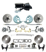 "DBK67691012S-GM-415  - 1967-1969 Camaro/ Firebird & 1968-1974 Chevy Nova Front & Rear Power Disc Brake Conversion Kit Standard Rotors w/  8"" Dual Powder Coated Black Booster Kit"