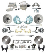 "DBK67691012S-GM-328  - 1967-1969 Camaro/ Firebird & 1968-1974 Chevy Nova Front & Rear Power Disc Brake Conversion Kit Standard Rotors w/8"" Dual Chrome Flat Top Booster Kit"