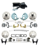 "DBK67691012SLX-GM-415  - 1967-1969 Camaro/ Firebird & 1968-1974 Chevy Nova Front & Rear Power Disc Brake Conversion Kit Drilled & Slotted Rotors w/ 8""Dual Zinc Booster Kit w/  8"" Dual Powder Coated Black Booster Kit"