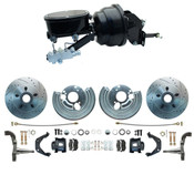 DBK6272LXB-BB-MP-401 - 1962-1972 Mopar B-Body & E-Body High Performance Big Brake Kit w/ Powder Coated Black Calipers &  Booster Kit Tandem Oval Master Cylinder