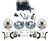DBK6272LX-MP-110 1962-72 Mopar B & E Body Standard Manual Master Front Disc Brake Conversion Kit w/ Drilled/ Slotted Rotors