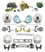 """DBK64721012LX-GM-242  - 1964-1972 GM A Body Front & Rear Power Disc Brake Conversion Kit Drilled & Slotted Rotors w/ 9"""" Delco Stamped Booster Kit & Casting Number Master"""