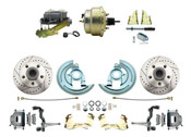 """DBK6472LX-GM-207  - 1964-1972 GM A Body Front Power Disc Brake Conversion Kit Drilled/ Slotted Rotors w/ 8""""  Dual Zinc Booster Kit"""