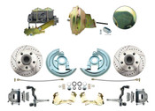 """DBK6472LX-GM-232 - 1964-1972 GM A Body Front Power Disc Brake Conversion Kit Drilled/ Slotted Rotors w/ 9"""" Delco Moraine Stamped Zinc Booster Kit & Casting Number Master"""