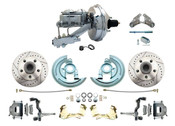 """DBK6472LX-GM-340  - 1964-1972 GM A Body Front Power Disc Brake Conversion Kit Drilled/ Slotted Rotors w/ 9"""" Chrome Booster Kit"""