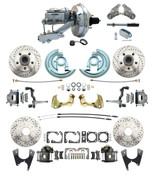 "DBK64721012LX-GM-341  - 1964-1972 GM A Body Front & Rear Power Disc Brake Conversion Kit Drilled/ Slotted Rotors w/ 9"" Chrome Booster Kit"