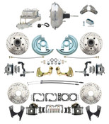 "DBK64721012LX-GM-343  - 1964-1972 GM A Body Front & Rear Power Disc Brake Conversion Kit Drilled/ Slotted Rotors w/ 11"" Chrome Booster Kit"