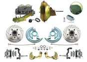 """DBK6472LX-DB-120 - 1964-1972 GM A Body Front Power Disc Brake Conversion Kit Drilled/ Slotted Rotors w/ 11"""" Delco Moraine Stamped Zinc Booster Kit & Casting Number Master"""