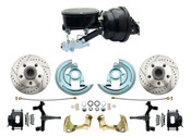 "DBK6472DLXB-GM-401 - 1964-1972 GM A Body Front Power 2"" Drop Disc Brake Conversion Kit Drilled & Slotted Rotors Black Powder Coated Calipers w/ 8"" Dual Booster Kit & Tandem Master Cylinder"