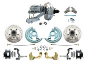 """DBK6472LXB-GM-340  - 1964-1972 GM A Body Front Power Disc Brake Conversion Kit Drilled/ Slotted Rotors Powder Coated Black Calipers w/ 9"""" Chrome Booster Kit"""