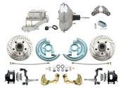 "DBK6472LXB-GM-342  - 1964-1972 GM A Body Front Power Disc Brake Conversion Kit Drilled/ Slotted Rotors Powder Coated Black Calipers w/ 11"" Chrome Booster Kit"