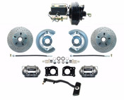 DBK6473LX-FD-256  - 1967-69 Ford Mustang OE Style Power Disc Brake Conversion Kit Drilled/ Slotted Rotors Automatics Only
