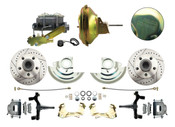"DBK6769LX-GM-224  - 1967-1969 F Body 1968-1974 X Body Front Power Disc Brake Conversion Kit Drilled Rotors w/ 11"" Delco Stamped Booster Kit"