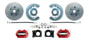 DBK6473LX-R  - 1964.5 - 1973 Mustang Disc Brake Conversion Kit Drilled & Slotted Rotors Red Calipers