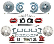 DBK6473-9LX-R  - 1964.5-1973 Ford Mustang Front & Rear Disc Brake Conversion Drilled & Slotted Rotors Red Calipers