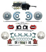 DBK6473-9LXR-FD-250-D  - 1964.5-1966 Ford Mustang Front & Rear Power Disc Brake Conversion Red Calipers