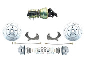 1957-1968 Ford Galaxie Disc Brake Kit & Power Booster Conversion Drilled & Slotted Rotors
