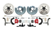 DBK6272A-45-LXR - 1962-1972 Mopar A Body Large Bolt Pattern Standard Disc Brake Conversion Kit w/ Powder Coated Red Calipers
