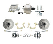 "DBK5558-GMFS1-308-1955-1958 GM Full Size Disc Brake Kit w/ 8"" Dual Chrome Power Brake Booster Conversion Kit (Impala, Bel Air, Biscayne)"