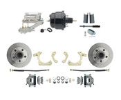 "DBK5558-GMFS1-711-1955-1958 GM Full Size Disc Brake Kit w/ 8"" Dual Powder Coated / Aluminum Chrome Booster Kit"