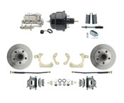 "DBK5558-GMFS1-712-1955-1958 GM Full Size Disc Brake Kit w/ 8"" Dual Powder Coated / Aluminum Chrome Booster Kit"