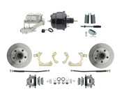 "DBK5558-GMFS1-713-1955-1958 GM Full Size Disc Brake Kit w/ 8"" Dual Powder Coated / Aluminum Chrome Booster Kit"
