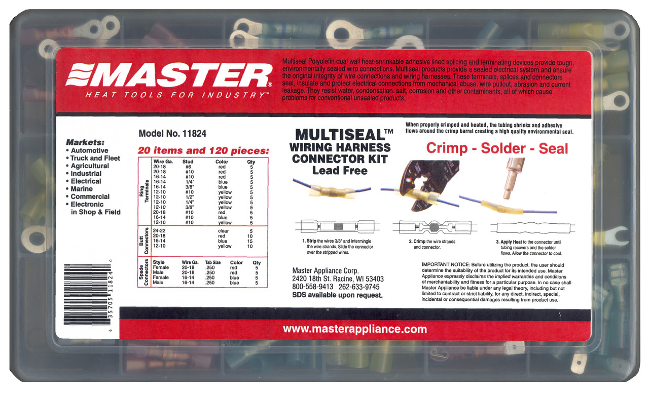 Multiseal Crimp, Solder & Seal Wire Connectors | Master Appliance on trailer harness connectors, quick disconnect connectors, ford car harness connectors, ecm harness connectors, saturn a c clutch harness connectors, wire connectors, battery connectors, cable connectors, oem terminals connectors, gm delphi connectors, oem ford trailer wiring harness, automotive fuse box connectors, car wiring connectors, signal harness connectors, bullet connectors, auto electrical harness connectors, power supply connectors,
