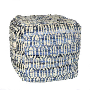 Shane Denim and Chenille Pouf