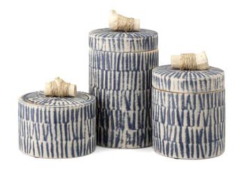 Indigo Lidded Jars set of three