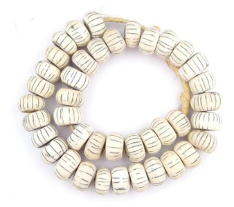 Decorative Striped Ivory Bone Beads
