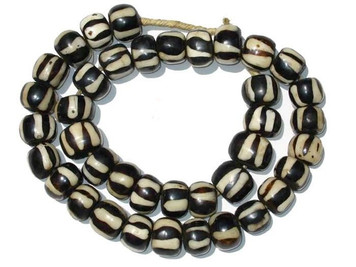 Decorative Striped Black and Bone Beads