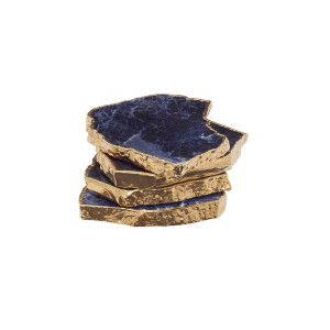 Curated Collection Gilt Coasters in Blue set of 4