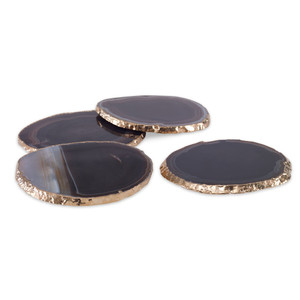 Curated Collection Agate Slice Coasters in Black