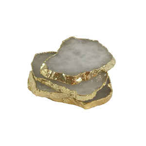 Curated Collection Crystal Gilt Coasters set of four