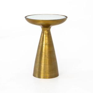 Margot Pedestal Side Table in Brass Finish