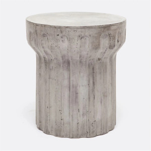 Weathered Column Side Table in Grey
