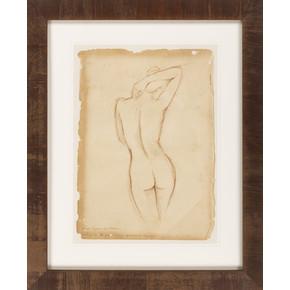 Nude Parchment I, Framed
