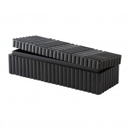 Horn Line Pattern Rectangular Box in Ebony