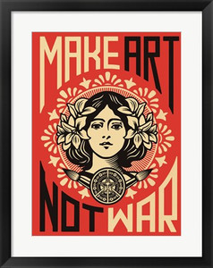 Make Art Not War- Vintage Framed Print