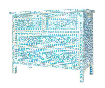 Bone Inlay Chest in Turquoise