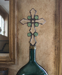 Vintage Crystal Cross Bottle in Teal (size, color and style slightly varies)