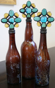 Vintage Cross Bottle in Amber with Turquoise (sold individually)