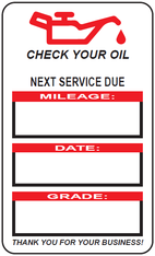H1 - ONE PUMP CHECK YOUR OIL HAND WRITE CLEAR REMOVABLE STICKERS - 500 STICKERS PER ROLL