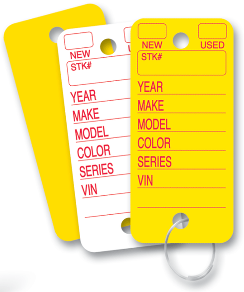 10050132C-YW - YELLOW KEYID POLY KEY TAGS - 252 PER BOX WITH 2 MARKERS AND KEY RINGS